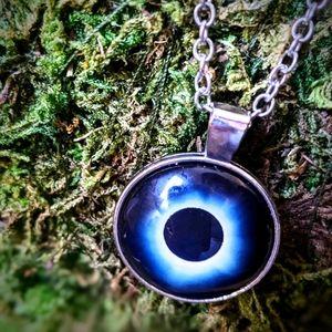 Mystical Eclipse Pendant Necklace Glass Cabachon